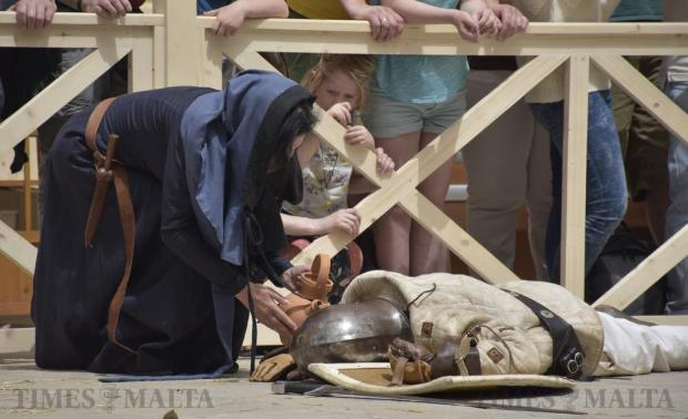 Re-enactors take part in a battle scene during the Medieval Mdina Festival on April 23. Photo: Mark Zammit Cordina