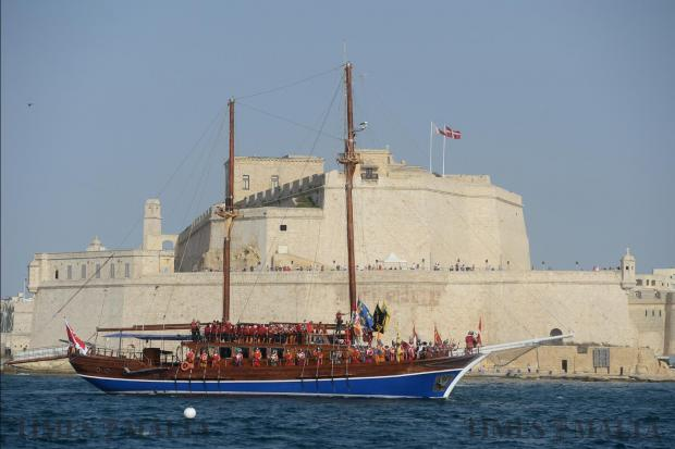 The Grandmaster arrives in the Grand Harbour aboard the Fernandes as part of the The Valletta Pageant of the Seas on June 7. Photo: Matthew Mirabelli
