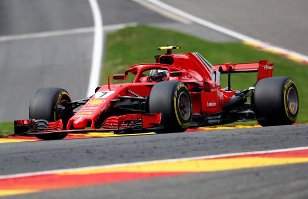 Kimi Raikkonen set the fastest time in the opening practice at the Belgian Grand Prix.