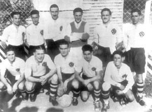 Sliema Wanderers, winners of the 1939-40 FA Trophy. Tony Nicholl scored 15 goals in just four matches.