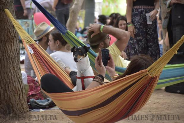 A dog sits with its owner in a hammock at the Earth Garden festival in Ta' Qali National Park on June 6. The park was transformed into a sea of colour and music as Malta's biggest non-mainstream festival got underway. About 20,000 people attended this year's festival. Photo: Mark Zammit Cordina