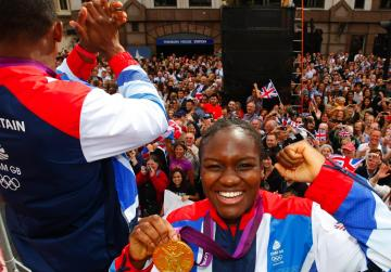 Boxer Nicola Adams poses with her gold medal.