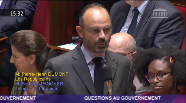 French Prime Minister Édouard Philippe answering questions about Mr Gozi in the French Parliament.