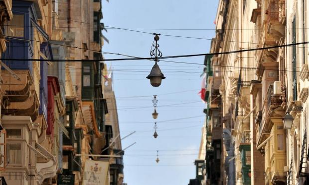 Street lamps hang over Republic Street in Valletta on October 12. Photo: Chris Sant Fournier