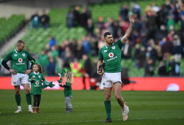 Ireland's Rob Kearney celebrates after the match.