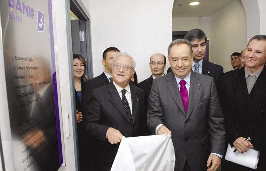 President Eddie Fenech Adami (left) and Banif Financial Group chairman Horácio Roque during the official opening of the Banif Bank branch in St Julians yesterday.		 Photo: Matthew Mirabelli.