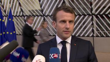 EU leaders debate how long to delay Brexit | Macron said a long Brexit has not yet been decided.
