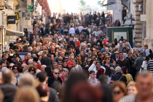 Christmas shoppers pack Republic Street in Valletta on December 23. Photo: Chris Sant Fournier