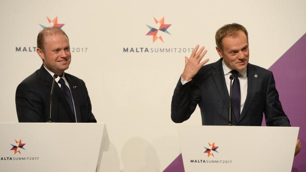 Joseph Muscat and Donald Tusk addressing the news conference. Photo: Matthew Mirabelli