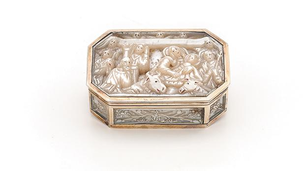 Snuff box with Nativity Scene, Mother-of-pearl with painted detail, gilt metal, Jerusalem craftsmanship mounted en cage in France, 19th century, 3.1 x 5.2 x 7.8, Estate of Joseph Galea Naudi.
