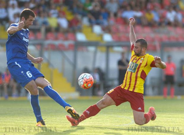 Birkirkara 's Joseph Zerafa is beaten by NK Siroki Brijeg's Josip Barišić during their Europa League second leg match at the Hibernians Stadium in Corradino on July 5. Photo: Matthew Mirabelli
