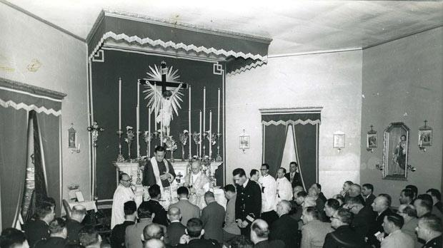 Archbishop Michael Gonzi celebrating Holy Mass at the police chapel in the 1960s.