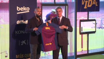Watch: New Barca signing Vidal determined to win three Champions Leagues   Video: AFP