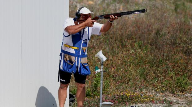 Bozhidar Dimitrov in action at the Shooting Arena.