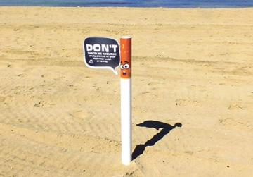 The Butts Off Campaign urges smokers not to throw their cigarette butts in the sand.