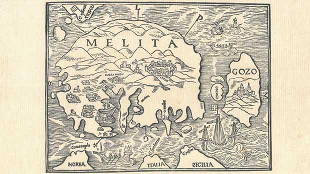 By subsequent standards, this 1536 map by Johannes Quintinus is rather primitive, intended perhaps to be more of a nautical chart, but it is fairly accurate in depicting the island's main characteristics. The circular shape of Malta was followed by many other cartographers.