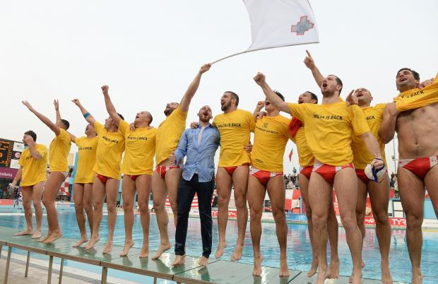 Malta celebrates after qualifying for the European Water Polo Championships in Barcelona after beating Belarus in a play-off match at the National Pool in Tal Qroqq on March 3. Photo: Matthew Mirabelli