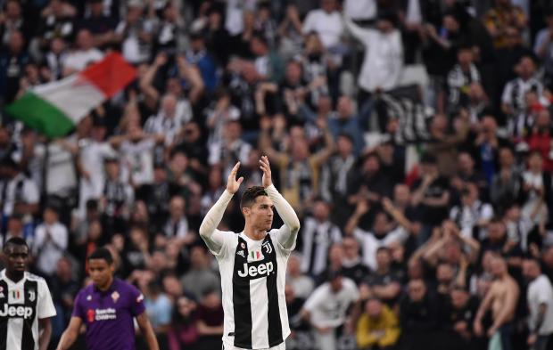 Ronaldo applauds the fans at the final whistle. Photo: AFP