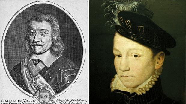 Portrait of Charles de Valois, the illegitimate son of King Charles IX, who became a Knight of Malta. Right: Portrait of King Charles IX of France, who legitimated the Grand Master's son, Barthélemy de Valette.