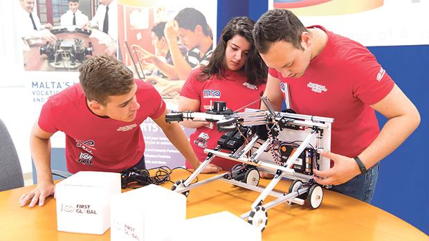 Aaron Josef Farrugia, Monique Micallef and Darren Farrugia are participating in the First Global Robotics Challenge.