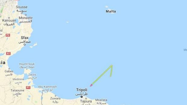 GPS tracking websites initially marked the ship as being off the coast of Libya, but the AFM has said it is now approaching Maltese territorial waters. Photo: Marine Traffic