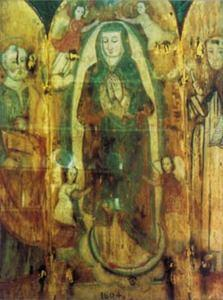 Our Lady of Filfla, the altarpiece that used to adorn the chapel on the isle of Fifla showing the Virgin Mary and saints Peter and Leonard.