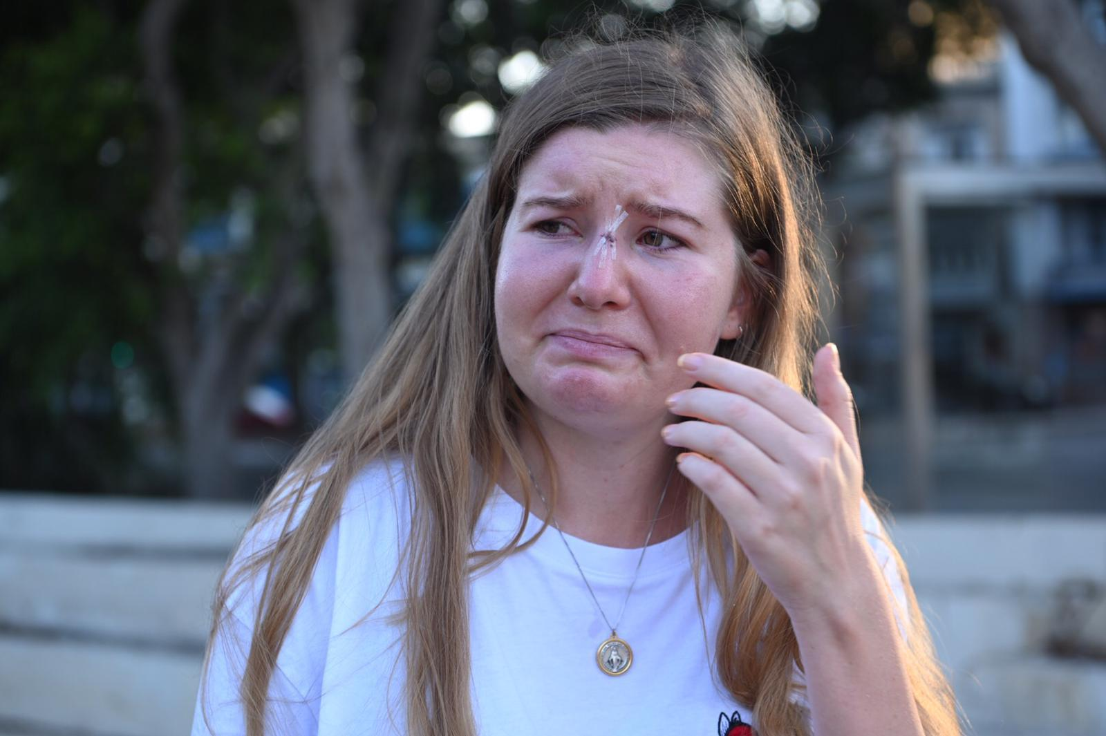 A tearful Karsbjer recounts her ordeal on Saturday. Photo: Mark Zammit Cordina