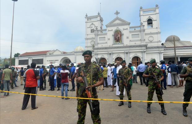 Military keeps watch in Colombo following the blasts. Photo: AFP