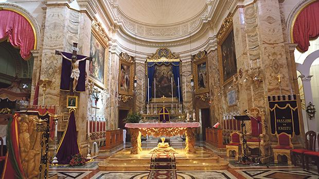 The interior of Żebbuġ parish church.