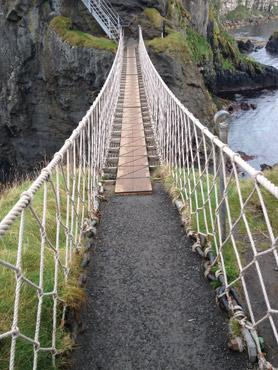 Carrick-a-Rede rope bridge connects the mainland to a small island from which salmon fishermen used to cast their nets.