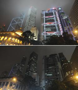 This AFP combo image shows (from left) the Bank of China building, the Cheung Kong Centre, the HSBC Building and the Standard Chartered Bank building and the colonial Legislative Council building (bottom left) in Hong Kong just before (top) and during Earth Hour (bottom) last Saturday.
