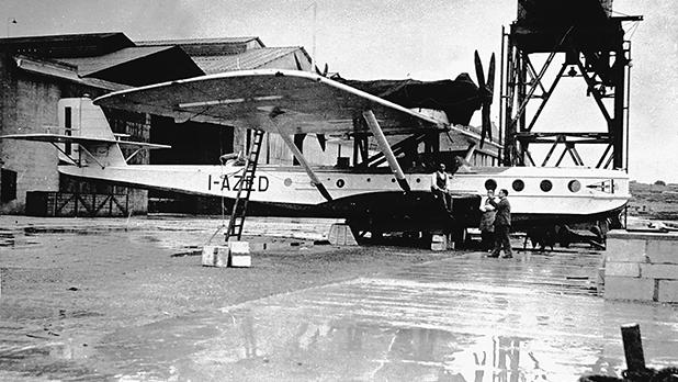 Dornier Wal-Cabina I-AZED of the Italian company SA Navigazione Aerea makes a scheduled stop at Kalafrana on its way to Tripoli from Siracusa, c. 1931.