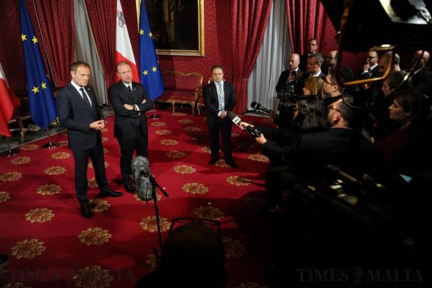 Prime Minister Joseph Muscat and President of the European Council Donald Tusk address the media at the Palace in Valletta during the EU summit held in Valletta on February 3. Photo: Steve Zammit Lupi