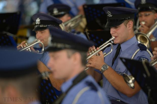 A member of the Police band performs outside Parliament in Valletta on July 4, to celebrate the Police Forces 202nd Anniversary. Photo: Matthew Mirabelli