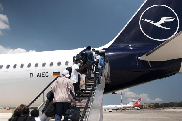 Group of migrants relocated to Germany