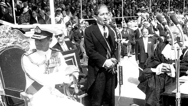In the presence of Prince Philip, George Borg Olivier addresses the crowds attending the official handing over of the Independence instruments in September 1964. Photo: Department of Information