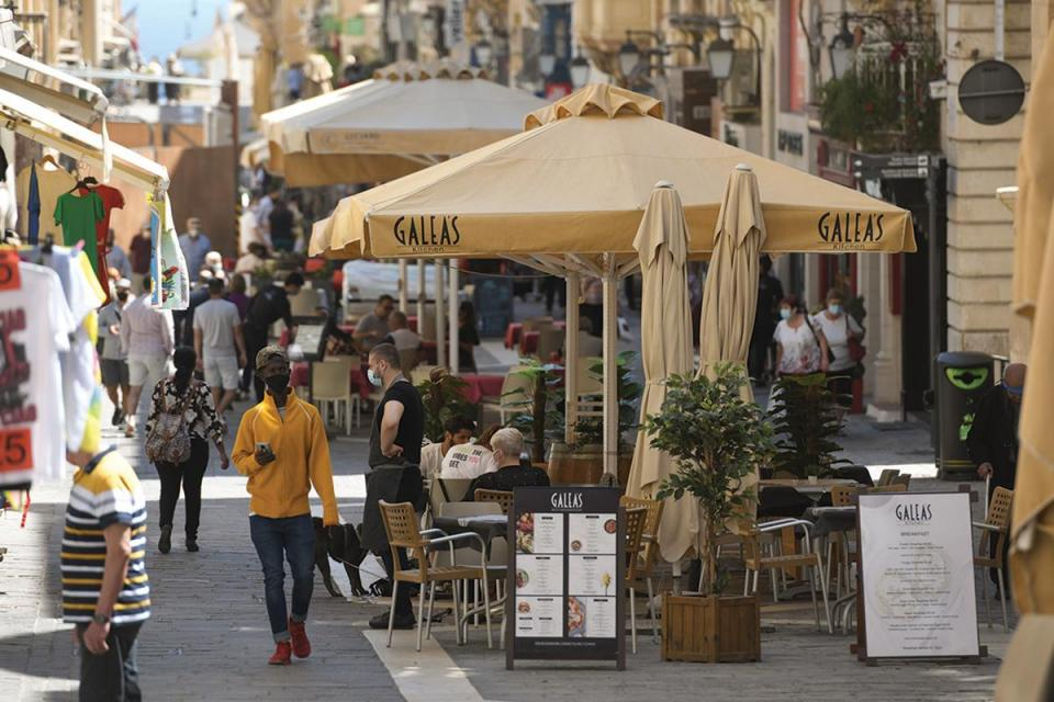 Valletta's main roads are like an obstacle course, full of tables and chairs. Photo:Matthew Mirabelli