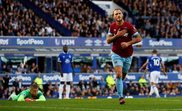 West Ham's Marko Arnautovic celebrates scoring their third goal.