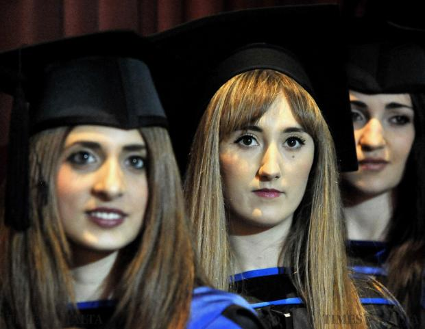 Bachelor of Laws graduates await to be given their certificate at the graduation ceremony at the University of Malta on December 3. Photo: Chris Sant Fournier