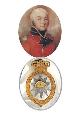 Top: Baron Francis de Rothenburg. Bottom: Regiment de Roll officers' shoulder belt plate.