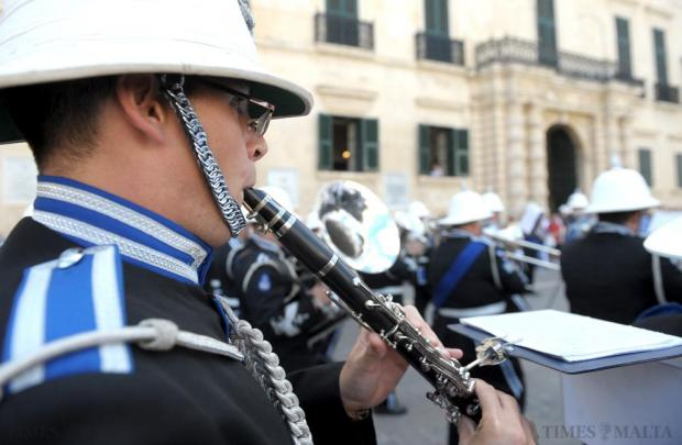 A member of the Malta Police Force band performs together with the Abu Dhabi Police Force Band in St George's Square, Valletta on October 11. Photo: Matthew Mirabelli