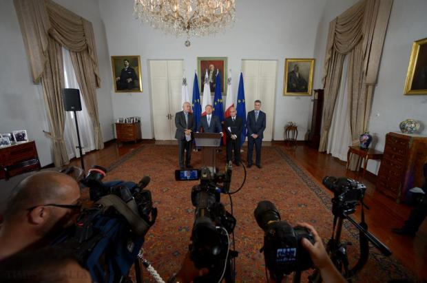 Prime Minister Joseph Muscat holds a press conference in Castille, Valletta on November 14, the morning after the terrorist attacks in France. Photo: Matthew Mirabelli