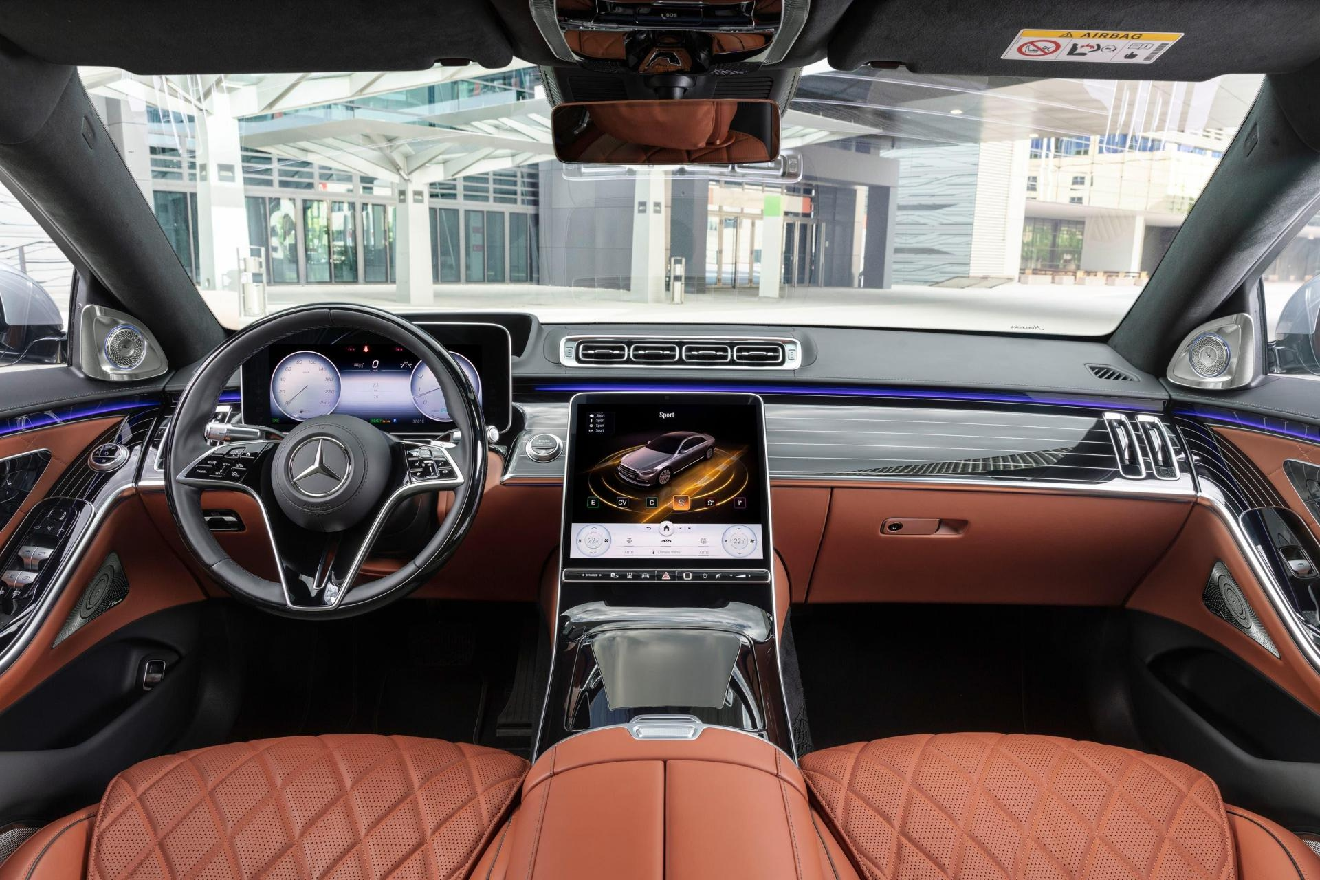 The S-Class interior features two widescreen displays.