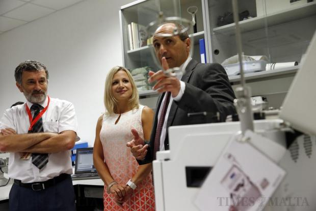 Health Minister Chris Fearne (right), Jennifer Cornthwaite and National Blood Tranfusion Service director Alex Aquilina attend the unveiling of the new blood-freezing equipment at the labs next to St Luke's Hospital on June 28. In the case of 35-year-old Jennifer Cornthwaite – whose blood group is only found in 0.04 per cent of the world's population – the machine could mean the difference between life and death. Photo: Darrin Zammit Lupi