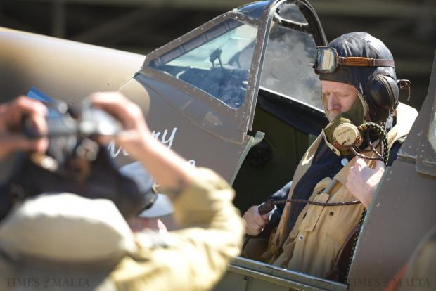 A re-enactor sits in a Spitfire at the Malta Aviation Museum Foundation on May 10. Photo: Matthew Mirabelli