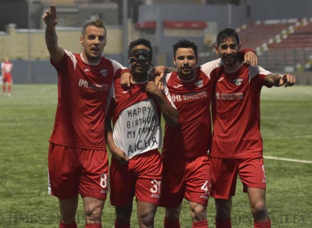 Balzan's Bojan Kaljevic (left) celebrates with team mates Abdelkarim Nafti (second left), Alan Da Silva Souza (second right) and Matteo Piciollo after scoring a goal against Mosta during their Premier League football match at the Tedesco Stadium in Hamrun on November 19. Photo: Mark Zammit Cordina
