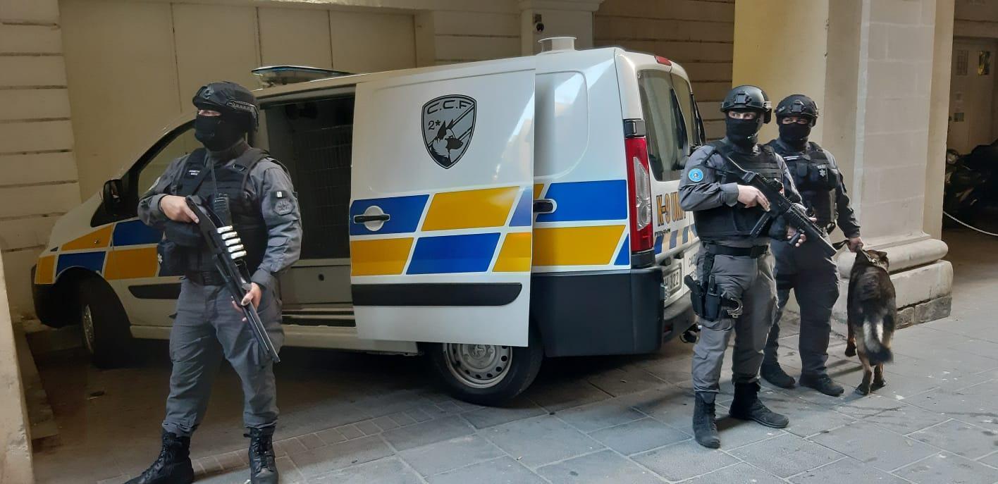 Heavy security outside the court building. Photo: Chris Sant Fournier