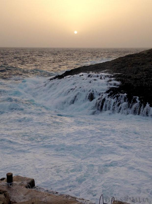 The sea turned white as waves battered the jagged rocks at Wied Iz-Zurrieq on February 28. Photo: Chris Sant Fournier