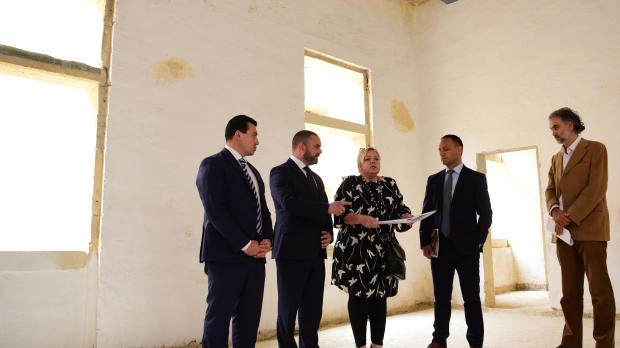 Parliamentary secretary Aaron Farrugia, culture minister Owen Bonnici, project architect Amanda Degiovanni, Valletta Cultural Agency chairman Jason Micallef and project head Caldon Mercieca visit works at the Valletta Design Cluster. Photo: Mark Zammit Cordina.