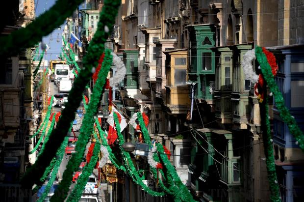 St Paul's street in Valletta all set for the feast as seen on February 6. Photo: Matthew Mirabelli